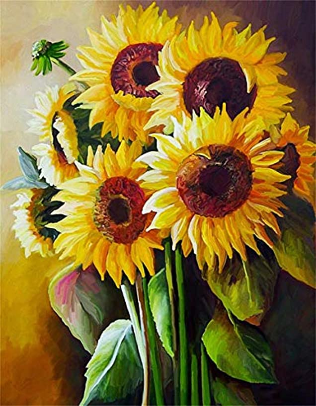 AMAILY Diamond Painting Kits for Adults - 5D Diamond Art Kits Full Drill Adult's Painting by Number Kits with AB Crystal Drills for Beginner for Wall Decor Living Room,Bedroom,Coffee Shop(Sunflower)