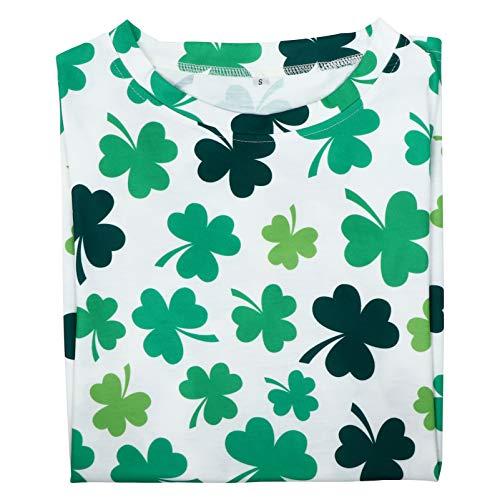 Amosfun St Patricks Day T-Shirt, Kleeblatt-Muster, irisches Kostüm, Kleidung, Freizeithemd für Frauen, Partyzubehör, S