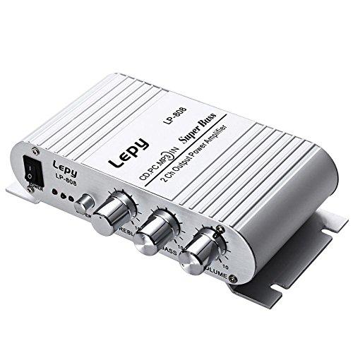 Domybest versterker audio stereo auto 12 V subwoofer audio stereo zonder stroomvoorziening voor laptop auto motorfiets zilver.