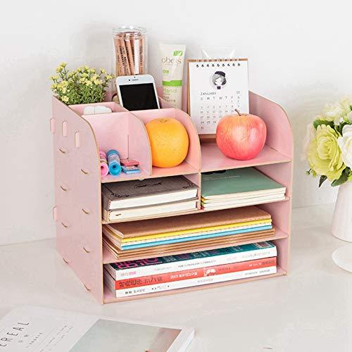 Organizador de escritorio de madera con 10 compartimentos, organizador de escritorio grande de madera con soporte para bolígrafos, cajones de escritorio para oficina, hogar (rosa)