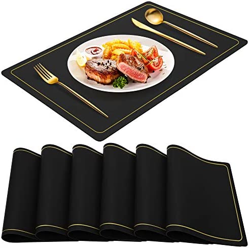 Black Placemats for Dining Table Set of 6 Waterproof Wipeable PU Leather Place Mats Indoor Washable product image