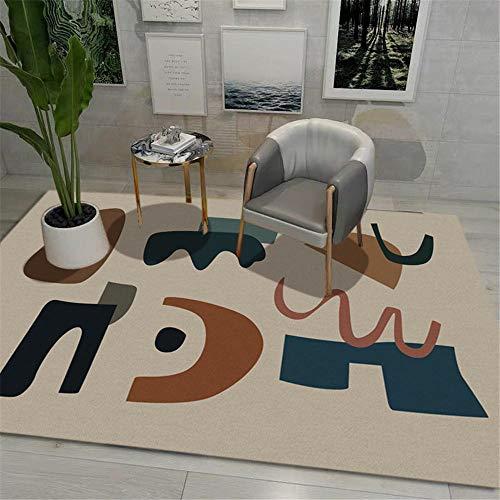 alfombras Salon Alfombra Antideslizante y Resistente a Las Manchas Negro Rojo marrón diseño geométrico Resistente a la decoloración articulos de Cocina alfombras de habitacion Juvenil 120*170CM