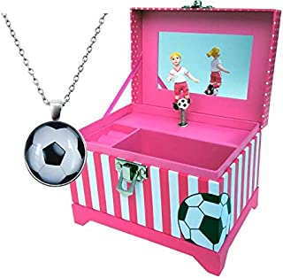 Just Like Me: Soccer Player Music Box with Blonde, Brown or Black Hair (Blonde Hair with Necklace)