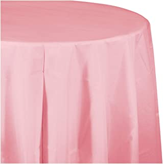 Classic Pink Round Plastic Tablecloths, 3 ct