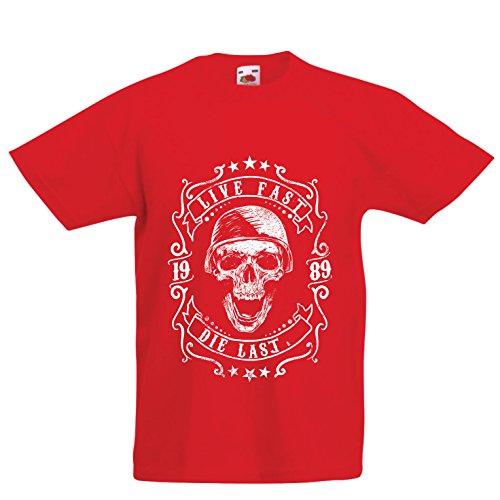 lepni.me Camiseta para Niño/Niña Viva rápido - muera último - Citas de Paseo en Bicicleta, Ropa de Motocicleta, Encanta Viajar, Gran Regalo para el Motorista (9-11 Years Rojo Multicolor)