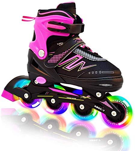 Hiboy verstellbare Inline-Skates mit Allen beleuchteten Rädern, beleuchteten Outdoor- und Indoor-Rollschuhen für Jungen, Mädchen, Anfänger (Medium 35-38, Pink)