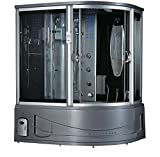 2020 Sedona Luxury Computerized Steam Shower Sauna with Jetted Whirlpool Massage Bathtub Spa with Bluetooth & TV (Grey-Left Position)