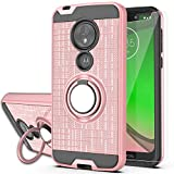Moto G7 Play Case with HD Screen Protector, YmhxcY 360 Degree Rotating Ring & Bracket Dual Layer Shock Bumper Cover for Motorola Moto G7 Play (5.7')-ZH Rose Gold