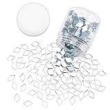 PandaHall 280 g transparente rombo cristal espejo azulejos mini azulejos decorativos de mosaico para decoración del hogar, manualidades, joyería, 0.76 x 0.45 x 0.01 pulgadas