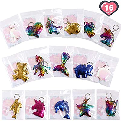 FiGoal 16 Pack Valentine's Day Flip Sequin Keychain in 16 Designs Unicorn Keychains with 16 Valentine's Day Cards Kids Class DIY Gift Set Student Toy Present Party Favor Goodie Bag