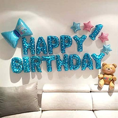 ENXI Balloon HAPPY BIRTHDAY Balloons Sets Foil Balloons Birthday Party Decoration Kids Alphabet Air Balloons Baby Shower Unicorn Girl Boy (Color : Light Green)