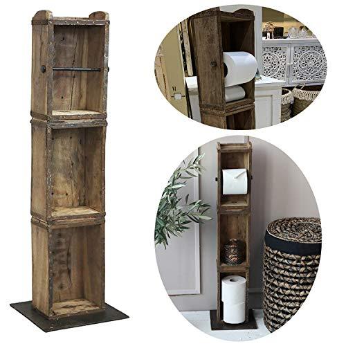 LS-LebenStil Holz Toilettenpapier-Ständer 95cm Ziegelform Klorollen-Halter Vintage