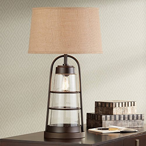 Farmhouse Industrial Table Lamp with Nightlight Bronze Cage Glass Lantern Brown Burlap Shade Decor for Living Room Bedroom House Bedside Nightstand Home Office Reading Family - Franklin Iron Works