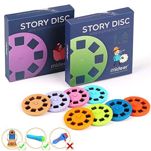 Story Disc 8 Fairy Tales Movies 64 Diapositivas para Story Projection Torch Story Film Replacement para niños Sleep Story Projector Bedtime Story Toy para niños y niñaste Regalo para Niños