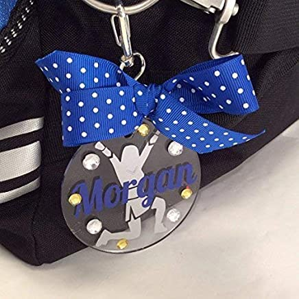 Cheerleader V-Up Bag Tag Personalized with Your Name and Your Colors