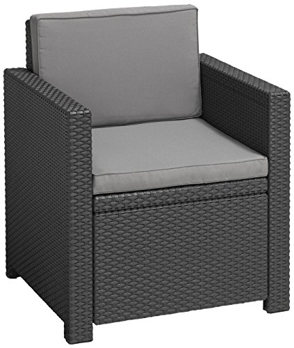 Allibert Lounge Sessel Victoria mit Kissen, graphit/cool grey