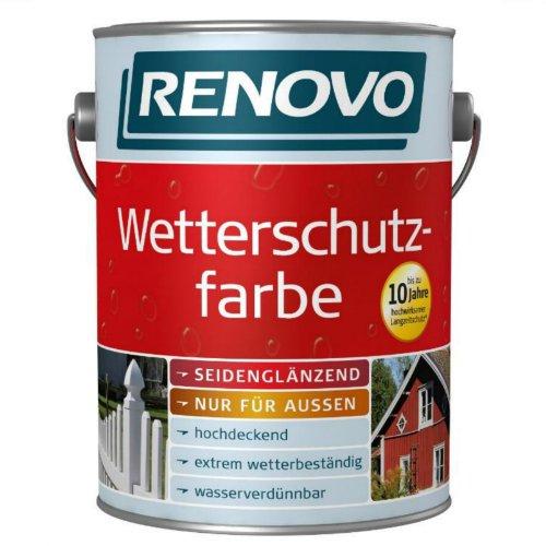 5 Liter Wetterschutzfarbe schwedenrot RAL3103 RENOVO bis 10 Jahre Langzeitschutz