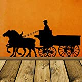 Express Train Wall Stickers Shutter , Pioneer Horse, Wagon, Old West, Western`` Stage Coach, Cow Home, Nordic Style Self-Adhesive Art Stick89x42cm