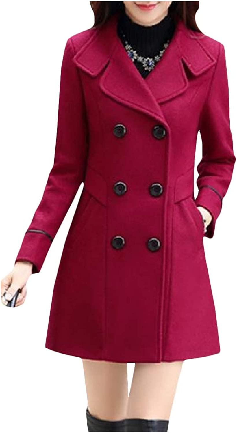 Tootca Women's DoubleBreasted OL WoolBlend Solid Trench Coat Outerwear