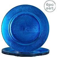 Argon Tableware Juego de bajoplatos Redondos - Azul - 330mm - Pack de 6