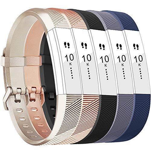 Fitbit Alta HR Armband,Vancle Fitbit Alta Armband Weiches Sports Ersetzerband Silikagel Fitness Verstellbares Uhrenarmband für Fitbi Alta und Fitbit Alta HR (Champagne Rosegold Black Grey Blue, Small)