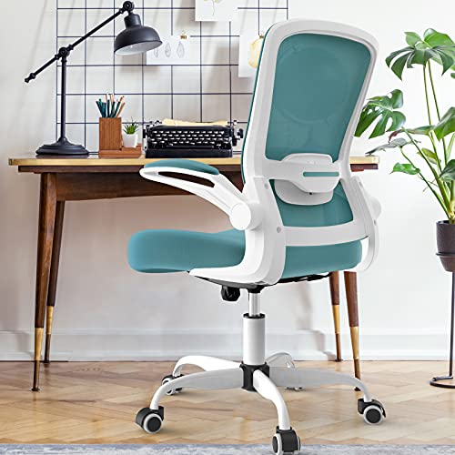Home Office Chair with Half-Year Return Service, High Back Computer Desk Chair with Flip-up Armrests and Adjustable Lumbar Support, Ergonomic Desk Chair with Thickened Cushion, Blue