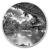 Impresionantes pegatinas de vinilo (juego de 2) 7,5 cm (bw) – Hamilton Pool Sinkhole Texas USA divertidos calcomanías para portátiles, tabletas, equipaje, reserva de chatarra, neveras, regalo genial #37083