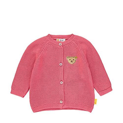 Steiff Baby-Mädchen mit Teddybärmotiv Strickjacke, Rosa (Pink Dove 2203), 50 (Herstellergröße: 050)