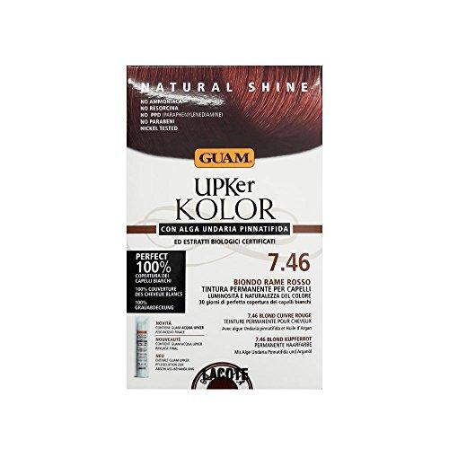 Guam Upker Kolor Teinture permanente naturelle avec algue usée et extraits bio, 7,46 blond cuivre rouge