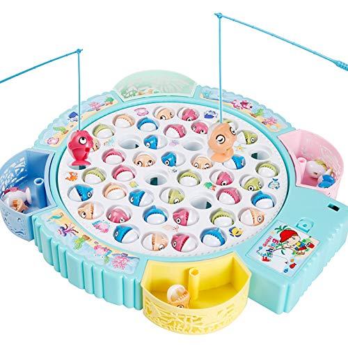 Zhuowei Brettspiele Fische Angeln Spiel Angelspiel Mit Magnet Musik & Fisch Spielzeug Geschenk Pädagogisches Spielzeug Für Mädchen Jungen Kinder,1