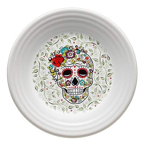 Fiesta Dinnerware Colection in White with Colorful, Bold and Iconic Halloween Sugar Skull Pattern, Chip-resistant and Durable Ceramic, Made in USA (Luncheon Plate)
