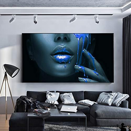 ganlanshu Rahmenlose Malerei Moderne Hauptdekoration Schwarzafrikanerin Blaue Lippen Porträt Leinwand Malerei PosterCGQ7707 40X80cm