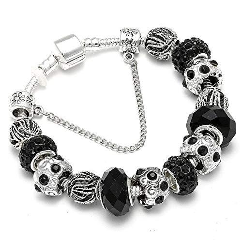 Silver Color Blue Cystal Beads Charm Bracelet For Women Diy Luxury Murano Glass Pan Bracelet Wedding Jewelry Gifts-G5,21Cm