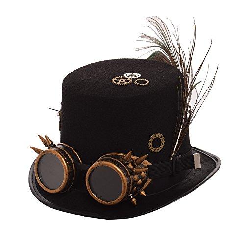 BLESSUME Steampunk Hut mit Schutzbrille Unisex Fancy Dress Zylinder (L, Farbe A)