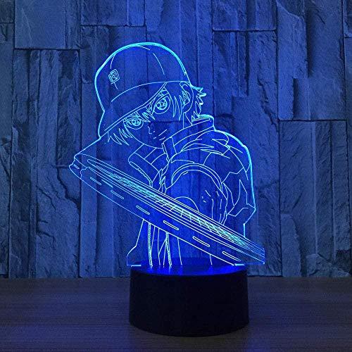 Lámpara de ilusión 3D Luz de noche Led creativa 7 colores Tenis Niño Modelado Dibujos animados Niños Usb Lámpara de mesa para bebés Decoración para dormir Regalo de novio