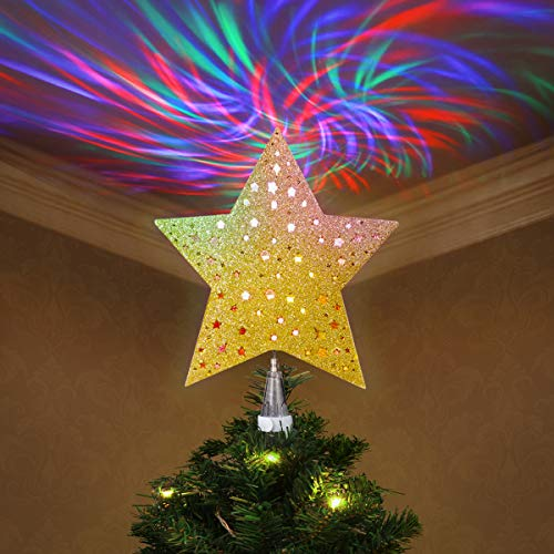 Lighted Christmas Tree Topper Star - YUNLIGHTS Christmas Tree Star with LED Rotating Wave Projector Lights -3D Glitter Hollow Xmas Tree Topper for Holiday Christmas Decorations - Gold