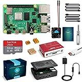 LABISTS Raspberry Pi 4 Kit de démarrage avec Pi 4 Modèle B Carte RAM 4 Go, carte Micro SD 32 Go Raspbian Préchargée Alimentation 5V 3A avec interrupteur ON/OFF Boîte, câble HDMI, lecteur de carte SD, ventilateur de refroidissement, radiateurs