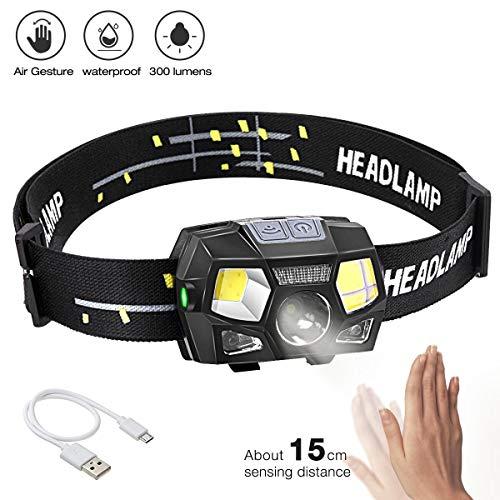 BACKTURE LED Stirnlampe, 300 Lumens Super hell USB Wiederaufladbare LED Mini Kopflampe, 5 Modi Arbeit Stirnlampe, Stirnlampe LED Wasserdicht mit Geste Sensor für Camping Angeln Joggen