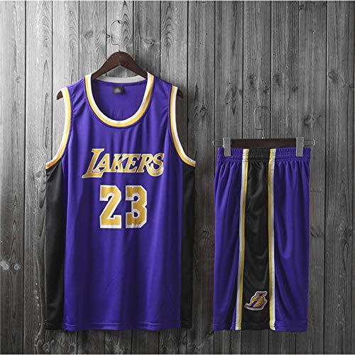 Jerseys Men's, NBA Los Angeles Lakers # 23 Lebron James - Niño Adulto Classic Baloncesto Sportswear Suelte Comfort Chalecta Tops Camisetas Sin Mangas Uniformes Set,Púrpura,L(Adult) 160~165CM