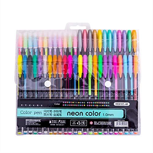 FBGood 48 Stück Aquarell Pinsel Stifte, Schüler Briefpapier Gel Pastell Neon Schreibstifte Unterschrift Stift Schreiben Schreibwaren für Büro und Haushalt