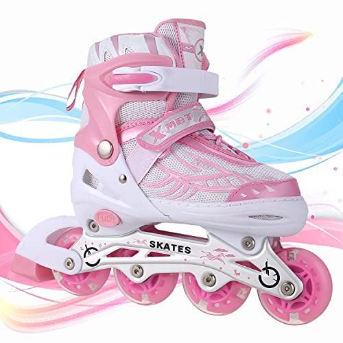 Miageek Adjustable Inline Skates with Light Up LED Wheels, Outdoor Roller Blades Roller Skates for Girls and Boys, Men and Women