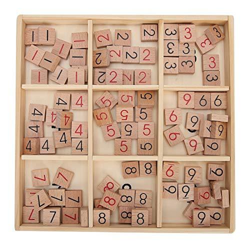 Juego de mesa Sudoku de madera - Libro de rompecabezas y tablero de madera - Juego de pensamiento numérico para adultos y niños