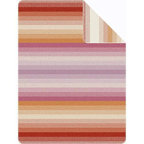 Ibena Kuscheldecke Lembang 150x200 cm: Tagesdecke orange pink, kuschelig weich & angenehm warm, hochwertige Leicht zu pflegene Baumwollmischung