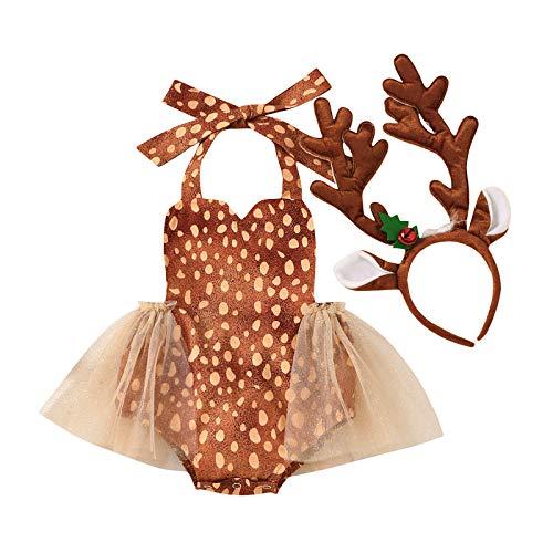 FYMNSI - Disfraz de reno, para recién nacida, para bebé, para primera Navidad, tutú sin espalda, tutú de tul con diadema, 2 piezas de accesorios para fotos de 0 a 24 meses