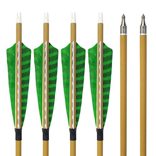 SHARROW 12pcs Flechas de Carbono 30 Pulgadas Spine 500 con Plumas de Pavo para Arco Compuesto Recurvo Flechas de Caza