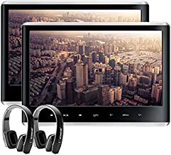XTRONS Dual Car DVD Players 11.6 Inch IPS Screen Portable Car Headrest CD Player with 2 Black Wireless Headphones Supports 1080P Video, HDMI Input, USB SD, AV in/Out, Region Free, IR FM, 32 Bits Game