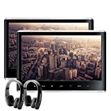 XTRONS Dual Car DVD Players 11.6 Inch IPS Screen Portable Car Headrest CD Player with 2 Black Wireless Headphones Supports 1080P Video, HDMI Input, USB SD, AV in/Out, Region Free, IR, 32 Bits Game