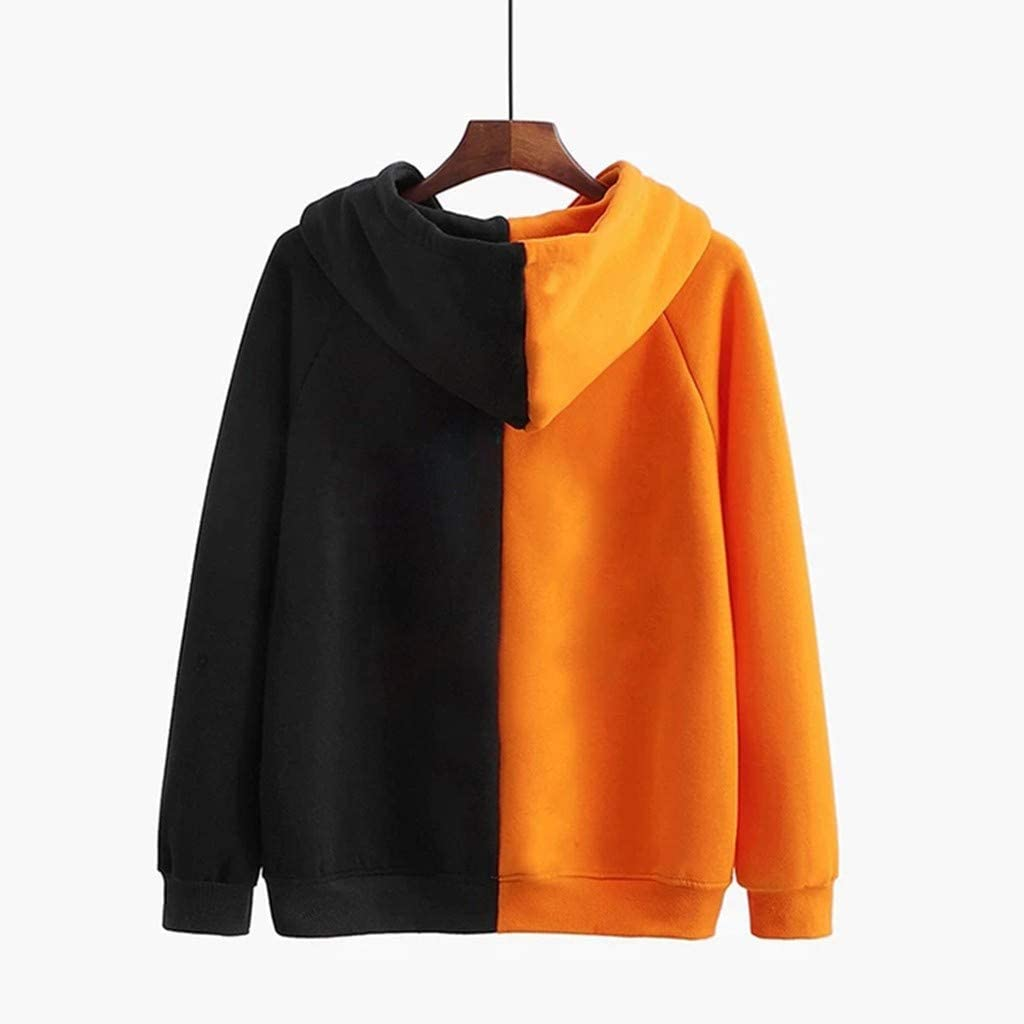 Long Sleeve Pocket Hooded Sweatshirt Pumpkin Face Print Splicing Pullover Top Shirt F/_topbu Halloween Hoodies for Women