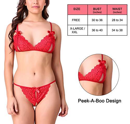 Xs and Os Women Bikini Lace Bra Panty Lingerie Set (Red, Free Size)