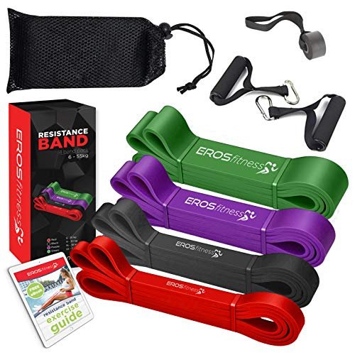 Eros 4 PACK Resistance Gym Band Workout Exercise Loop band For Pull Up and Stretch Training Fitness Band for Men Women Home Gym Power lifting and Yoga (4 pack)